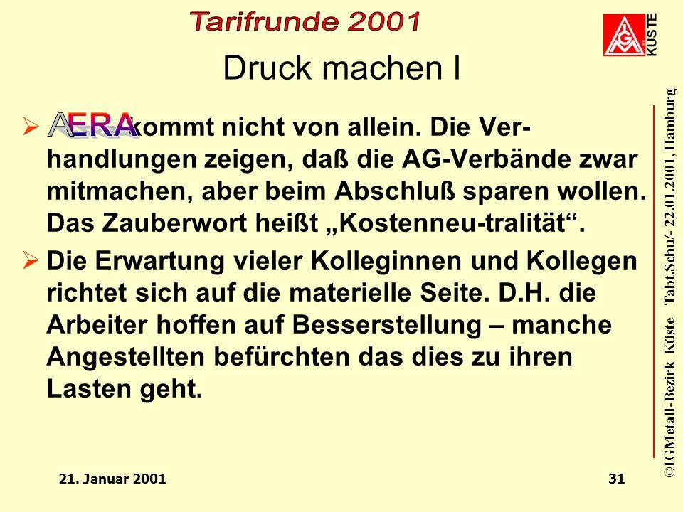 ©IGMetall-Bezirk Küste Tabt.Schu/- 22.01.2001, Hamburg 21. Januar 200130 Zeitschiene und Prioritäten