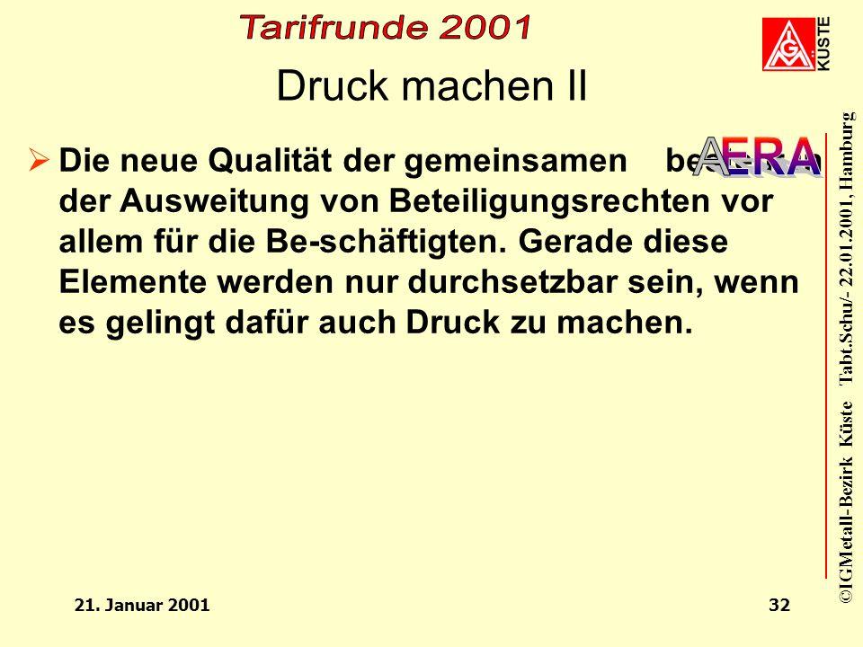 ©IGMetall-Bezirk Küste Tabt.Schu/- 22.01.2001, Hamburg 21. Januar 200131 Druck machen I kommt nicht von allein. Die Ver- handlungen zeigen, daß die AG