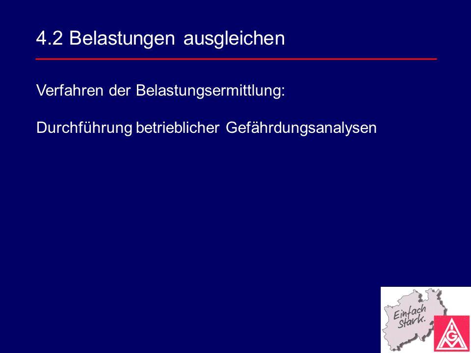4.2 Belastungen ausgleichen Verfahren der Belastungsermittlung: Durchführung betrieblicher Gefährdungsanalysen