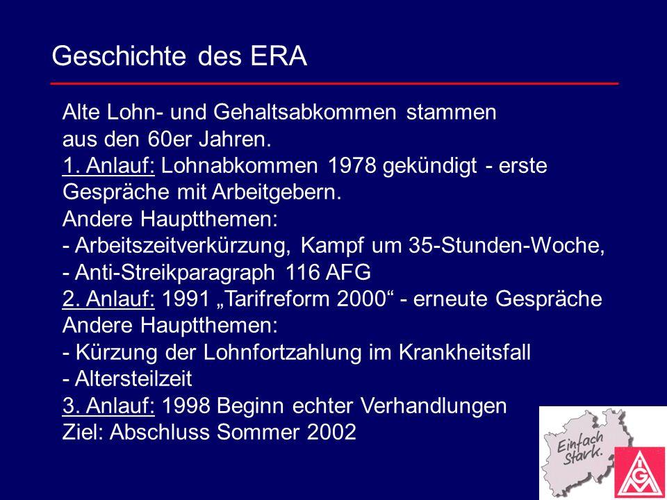 Geschichte des ERA Alte Lohn- und Gehaltsabkommen stammen aus den 60er Jahren. 1. Anlauf: Lohnabkommen 1978 gekündigt - erste Gespräche mit Arbeitgebe
