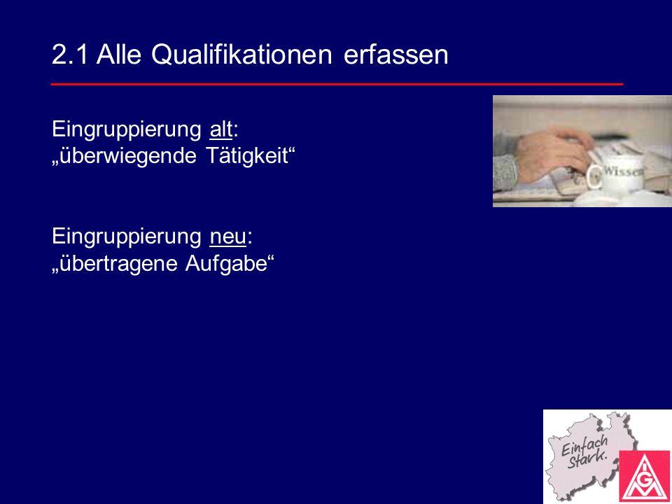 Eingruppierung alt: überwiegende Tätigkeit Eingruppierung neu: übertragene Aufgabe 2.1 Alle Qualifikationen erfassen