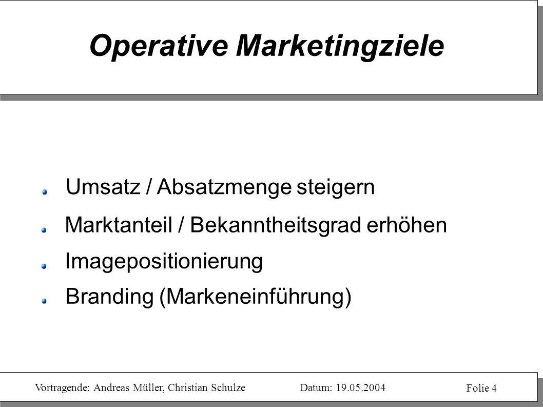Vortragende: Andreas Müller, Christian SchulzeDatum: 19.05.2004 Folie 4 Operative Marketingziele Branding (Markeneinführung) Umsatz / Absatzmenge stei