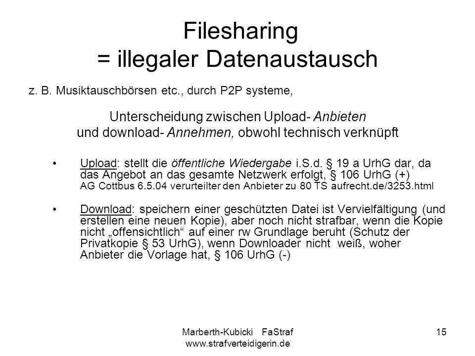 Marberth-Kubicki FaStraf www.strafverteidigerin.de 15 Filesharing = illegaler Datenaustausch z. B. Musiktauschbörsen etc., durch P2P systeme, Untersch