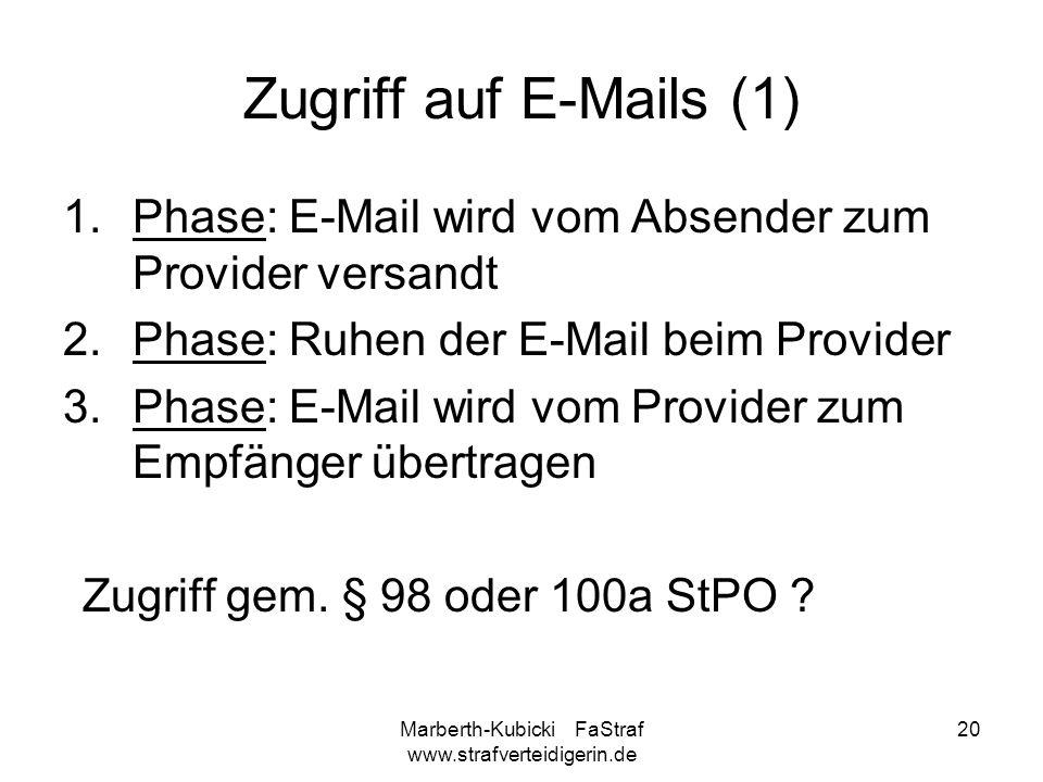 Marberth-Kubicki FaStraf www.strafverteidigerin.de 20 Zugriff auf E-Mails (1) 1.Phase: E-Mail wird vom Absender zum Provider versandt 2.Phase: Ruhen d