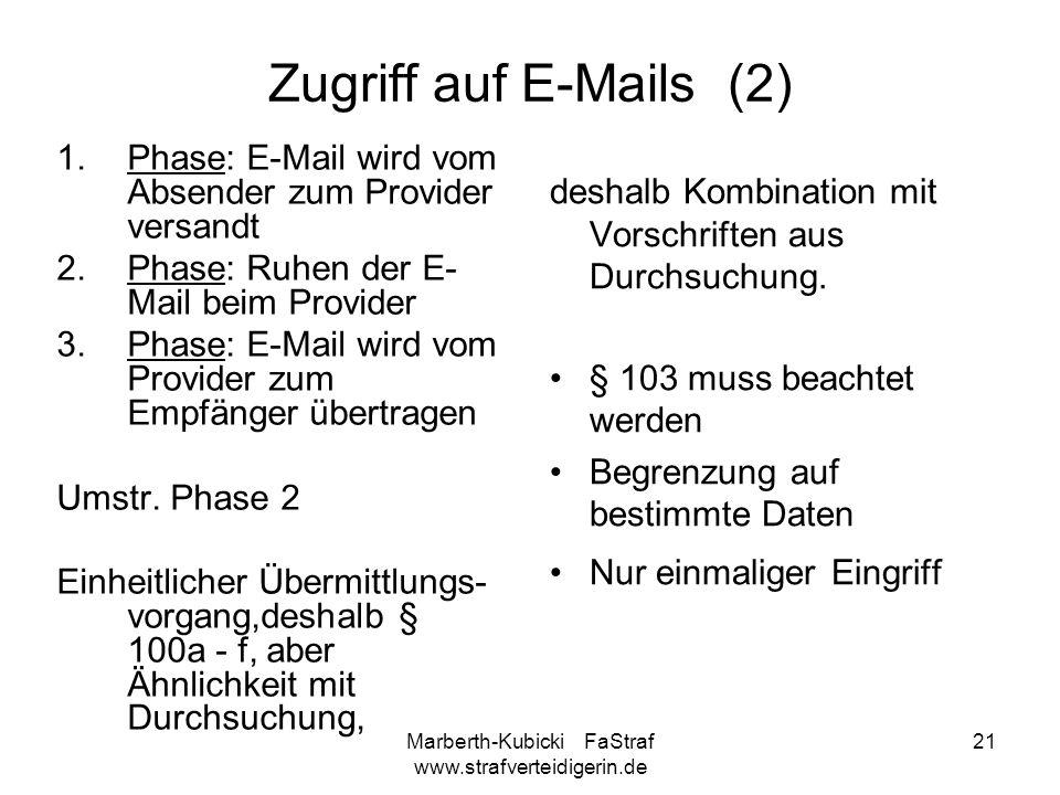 Marberth-Kubicki FaStraf www.strafverteidigerin.de 21 Zugriff auf E-Mails (2) 1.Phase: E-Mail wird vom Absender zum Provider versandt 2.Phase: Ruhen d