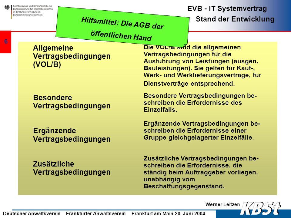 Werner Leitzen EVB - IT Systemvertrag Stand der Entwicklung Deutscher Anwaltsverein Frankfurter Anwaltsverein Frankfurt am Main 20. Juni 2004 5 Wettbe