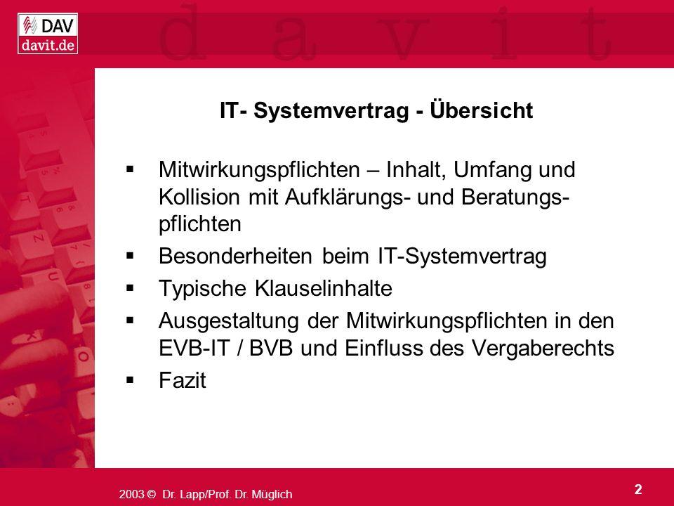 2 2003 © Dr. Lapp/Prof. Dr. Müglich IT- Systemvertrag - Übersicht Mitwirkungspflichten – Inhalt, Umfang und Kollision mit Aufklärungs- und Beratungs-