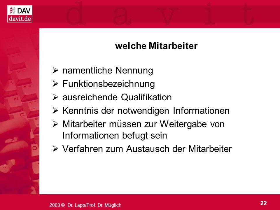 22 2003 © Dr. Lapp/Prof. Dr. Müglich welche Mitarbeiter namentliche Nennung Funktionsbezeichnung ausreichende Qualifikation Kenntnis der notwendigen I