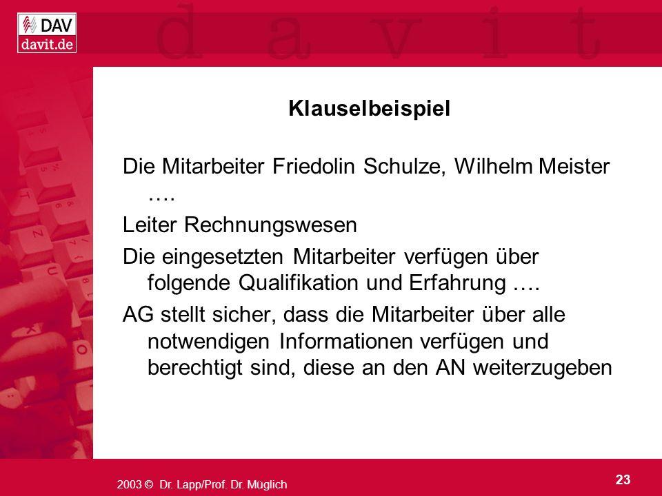 23 2003 © Dr. Lapp/Prof. Dr. Müglich Klauselbeispiel Die Mitarbeiter Friedolin Schulze, Wilhelm Meister …. Leiter Rechnungswesen Die eingesetzten Mita