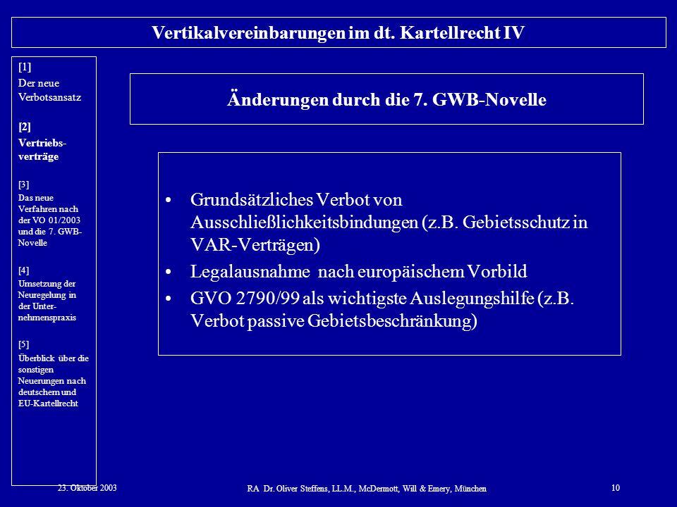 23. Oktober 2003 RA Dr. Oliver Steffens, LL.M., McDermott, Will & Emery, München 10 Vertikalvereinbarungen im dt. Kartellrecht IV Änderungen durch die