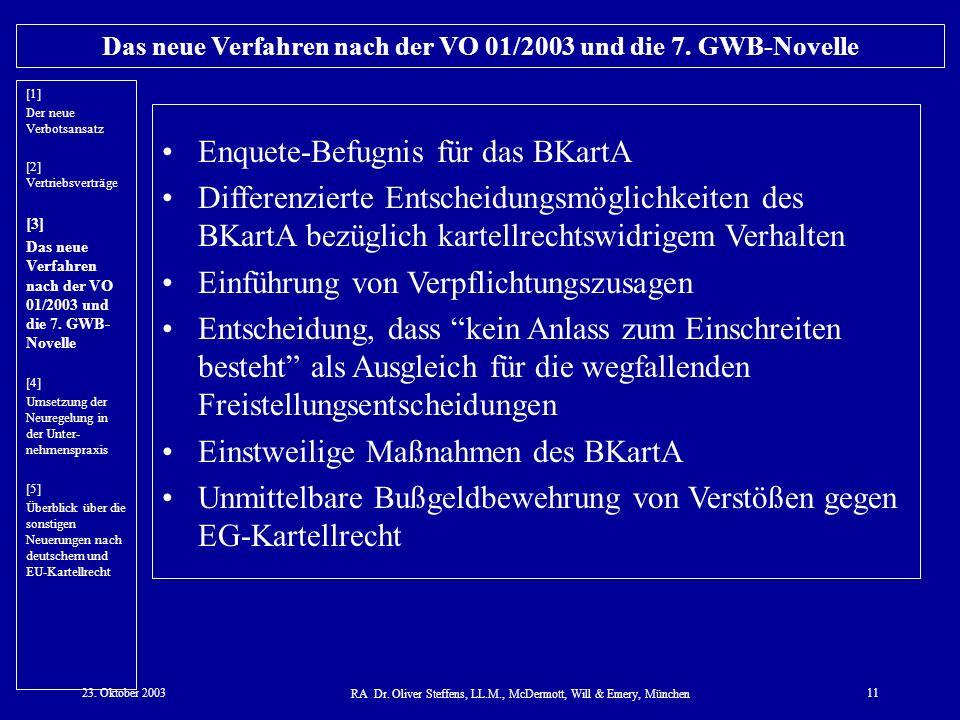 23. Oktober 2003 RA Dr. Oliver Steffens, LL.M., McDermott, Will & Emery, München 11 Das neue Verfahren nach der VO 01/2003 und die 7. GWB-Novelle Enqu