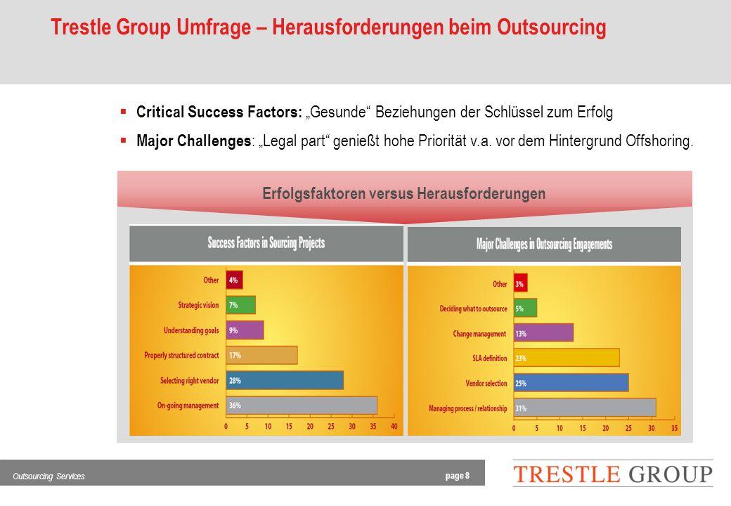 page 8 Outsourcing Services Trestle Group Umfrage – Herausforderungen beim Outsourcing Critical Success Factors: Gesunde Beziehungen der Schlüssel zum Erfolg Major Challenges : Legal part genießt hohe Priorität v.a.