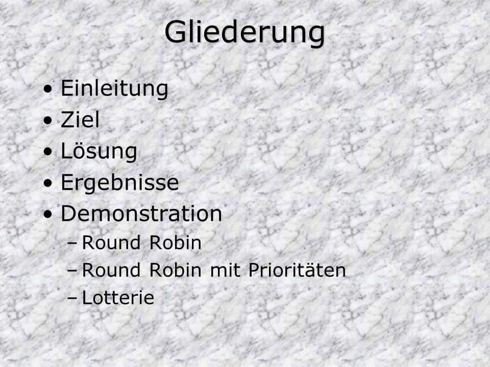 Gliederung Einleitung Ziel Lösung Ergebnisse Demonstration –Round Robin –Round Robin mit Prioritäten –Lotterie