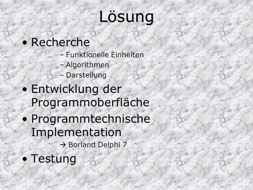 Lösung Recherche –Funktionelle Einheiten –Algorithmen –Darstellung Entwicklung der Programmoberfläche Programmtechnische Implementation Borland Delphi 7 Testung