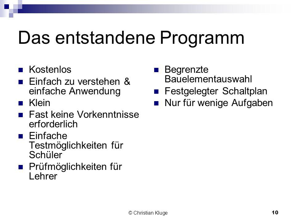 © Christian Kluge10 Das entstandene Programm Kostenlos Einfach zu verstehen & einfache Anwendung Klein Fast keine Vorkenntnisse erforderlich Einfache