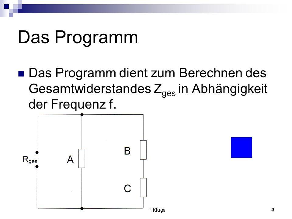 © Christian Kluge3 Das Programm Das Programm dient zum Berechnen des Gesamtwiderstandes Z ges in Abhängigkeit der Frequenz f.