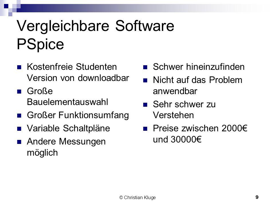 © Christian Kluge9 Vergleichbare Software PSpice Kostenfreie Studenten Version von downloadbar Große Bauelementauswahl Großer Funktionsumfang Variable