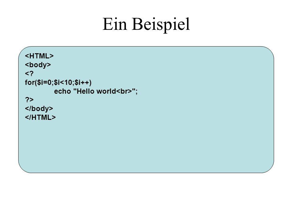 Ein Beispiel < for($i=0;$i<10;$i++) echo Hello world ; >