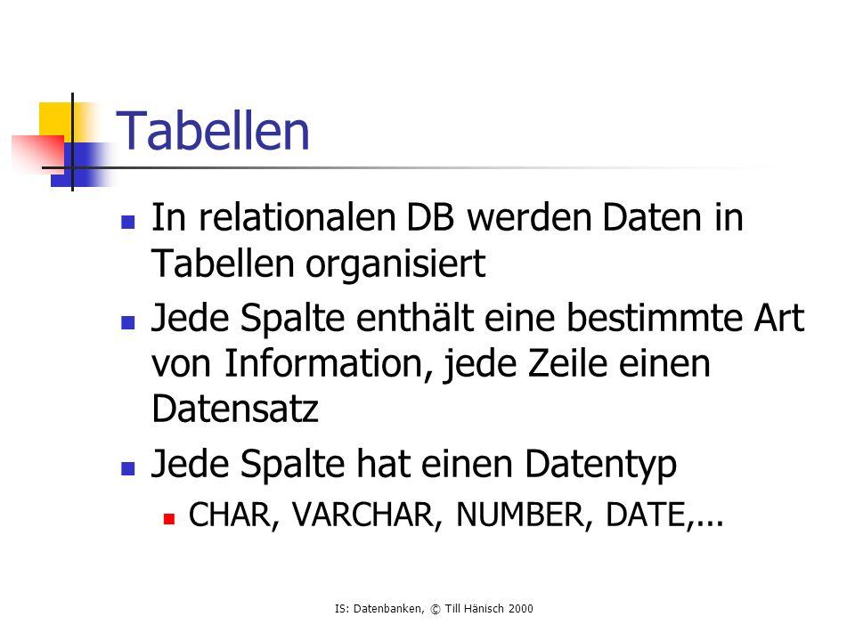 IS: Datenbanken, © Till Hänisch 2000 Tabellen In relationalen DB werden Daten in Tabellen organisiert Jede Spalte enthält eine bestimmte Art von Information, jede Zeile einen Datensatz Jede Spalte hat einen Datentyp CHAR, VARCHAR, NUMBER, DATE,...