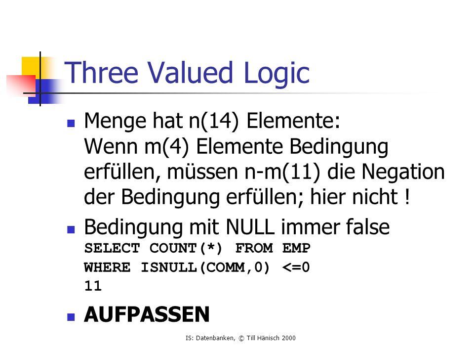 IS: Datenbanken, © Till Hänisch 2000 Three Valued Logic Menge hat n(14) Elemente: Wenn m(4) Elemente Bedingung erfüllen, müssen n-m(11) die Negation der Bedingung erfüllen; hier nicht .