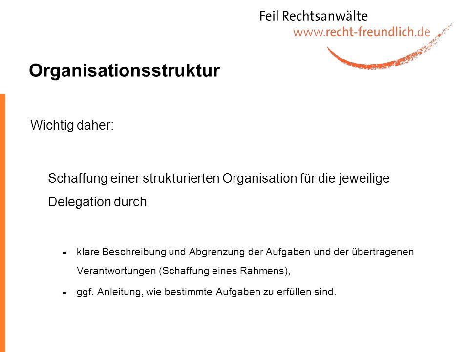 Organisationsstruktur Wichtig daher: Schaffung einer strukturierten Organisation für die jeweilige Delegation durch klare Beschreibung und Abgrenzung