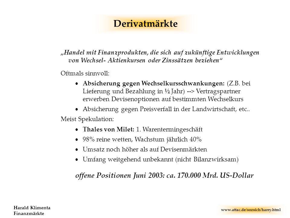 www.attac.de/sozsich/harry.html Harald Klimenta Finanzmärkte Derivatmärkte Handel mit Finanzprodukten, die sich auf zukünftige Entwicklungen von Wechs