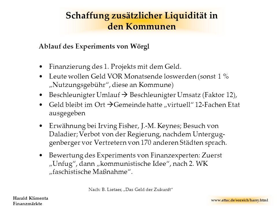 www.attac.de/sozsich/harry.html Harald Klimenta Finanzmärkte Schaffung zusätzlicher Liquidität in den Kommunen Ablauf des Experiments von Wörgl Finanz