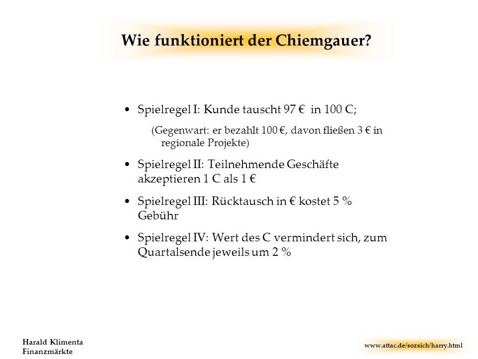www.attac.de/sozsich/harry.html Harald Klimenta Finanzmärkte Wie funktioniert der Chiemgauer? Spielregel I: Kunde tauscht 97 in 100 C; (Gegenwart: er