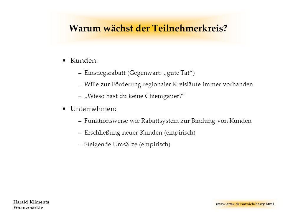 www.attac.de/sozsich/harry.html Harald Klimenta Finanzmärkte Warum wächst der Teilnehmerkreis? Kunden: –Einstiegsrabatt (Gegenwart: gute Tat) –Wille z