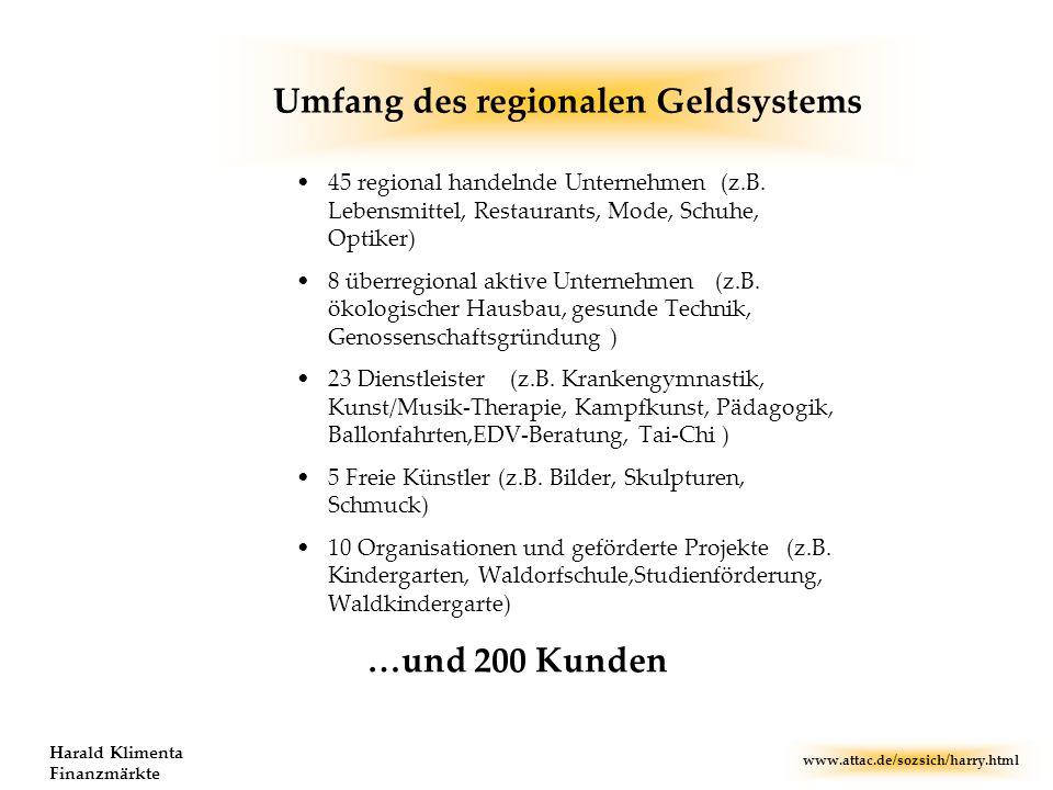 www.attac.de/sozsich/harry.html Harald Klimenta Finanzmärkte Umfang des regionalen Geldsystems 45 regional handelnde Unternehmen (z.B. Lebensmittel, R