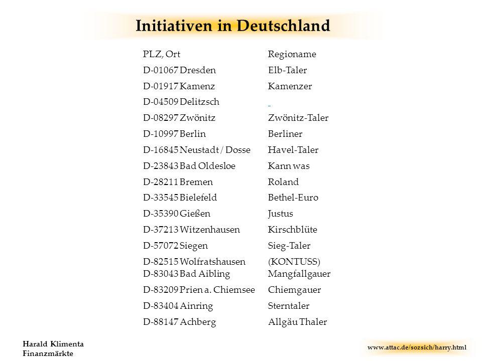 www.attac.de/sozsich/harry.html Harald Klimenta Finanzmärkte Initiativen in Deutschland D-88147 Achberg D-83404 Ainring D-83209 Prien a. Chiemsee D-83