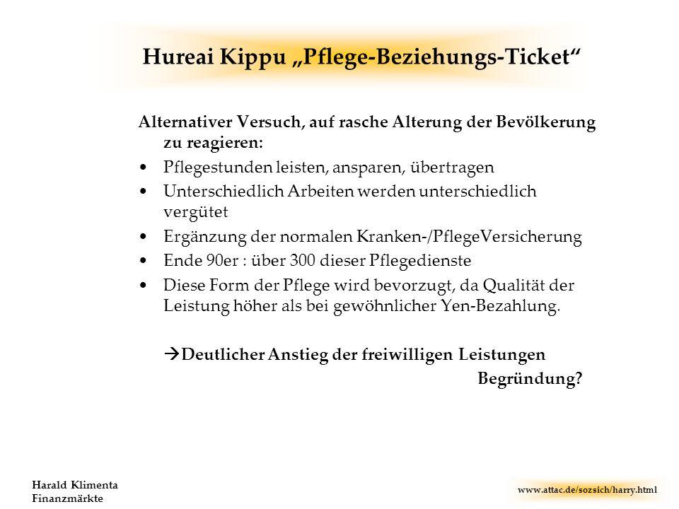 www.attac.de/sozsich/harry.html Harald Klimenta Finanzmärkte Hureai Kippu Pflege-Beziehungs-Ticket Alternativer Versuch, auf rasche Alterung der Bevöl