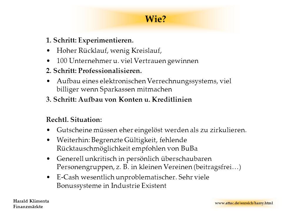 www.attac.de/sozsich/harry.html Harald Klimenta Finanzmärkte Wie? 1. Schritt: Experimentieren. Hoher Rücklauf, wenig Kreislauf, 100 Unternehmer u. vie