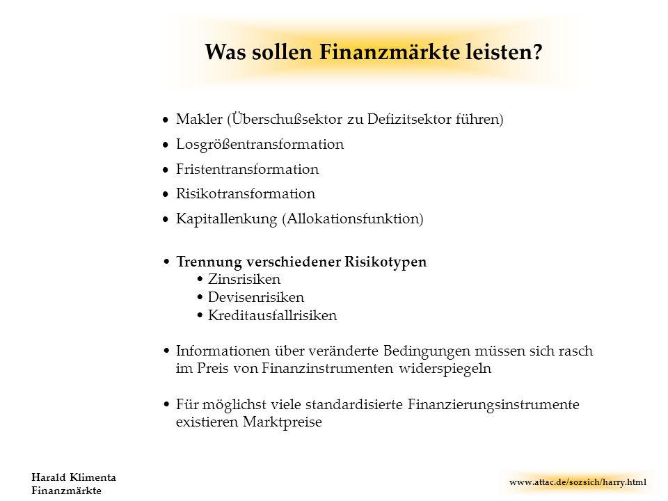 www.attac.de/sozsich/harry.html Harald Klimenta Finanzmärkte Makler (Überschußsektor zu Defizitsektor führen) Losgrößentransformation Fristentransform