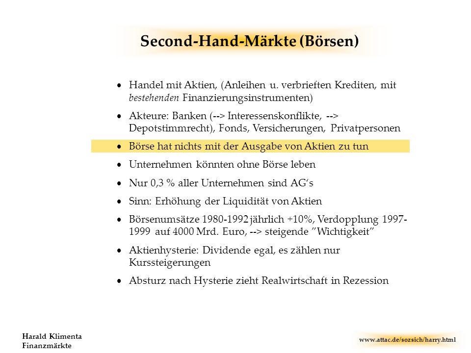 www.attac.de/sozsich/harry.html Harald Klimenta Finanzmärkte Second-Hand-Märkte (Börsen) Handel mit Aktien, (Anleihen u. verbrieften Krediten, mit bes