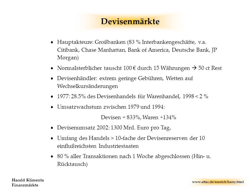 www.attac.de/sozsich/harry.html Harald Klimenta Finanzmärkte Devisenmärkte Hauptakteure: Großbanken (83 % Interbankengeschäfte, v.a. Citibank, Chase M