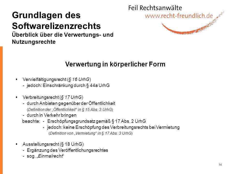 14 Vervielfältigungsrecht (§ 16 UrhG) -jedoch: Einschränkung durch § 44a UrhG Verbreitungsrecht (§ 17 UrhG) -durch Anbieten gegenüber der Öffentlichke
