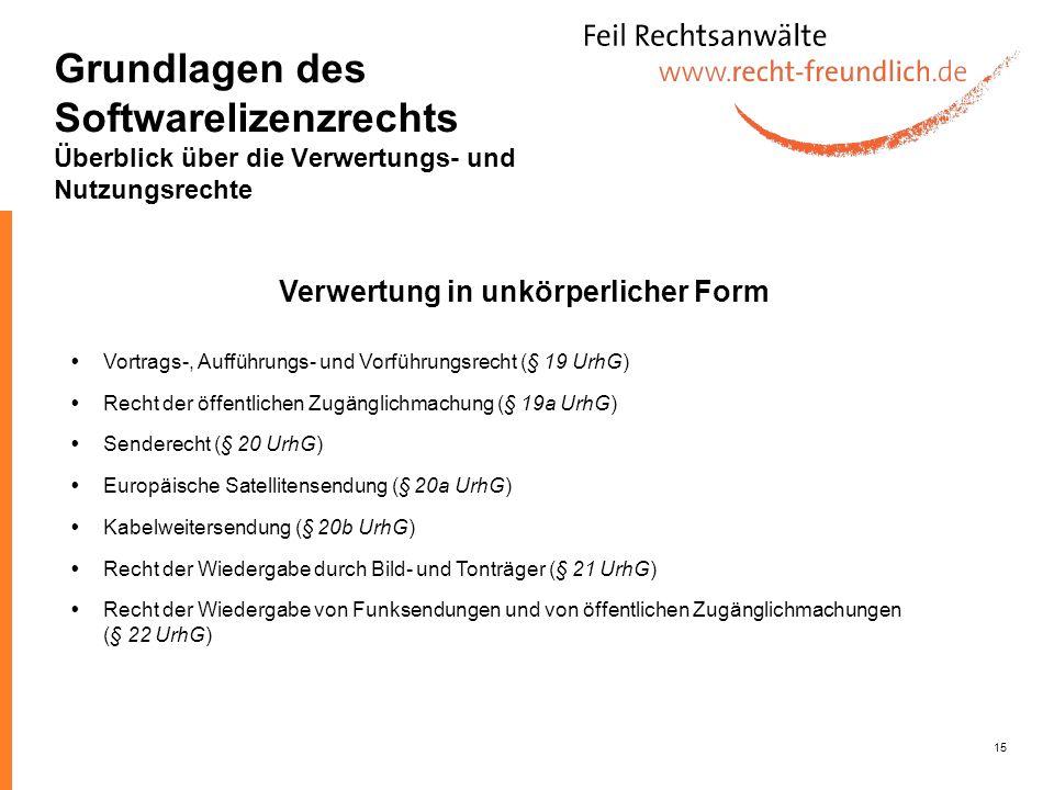 15 Kabelweitersendung (§ 20b UrhG) Vortrags-, Aufführungs- und Vorführungsrecht (§ 19 UrhG) Recht der öffentlichen Zugänglichmachung (§ 19a UrhG) Euro