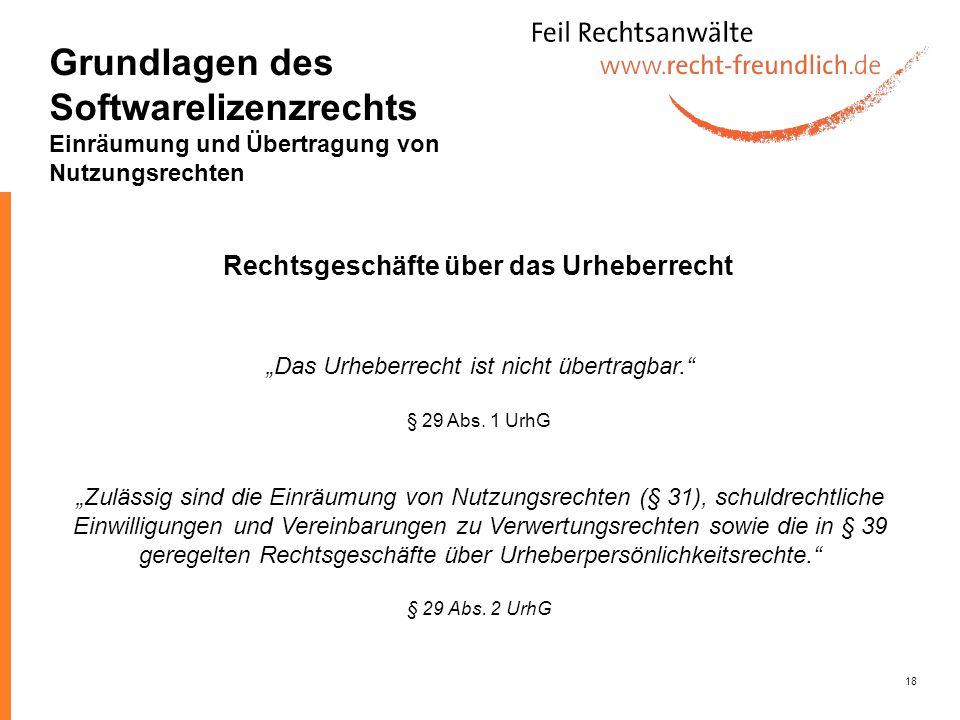 18 Das Urheberrecht ist nicht übertragbar. § 29 Abs. 1 UrhG Zulässig sind die Einräumung von Nutzungsrechten (§ 31), schuldrechtliche Einwilligungen u