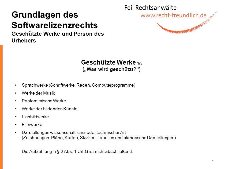 3 Sprachwerke (Schriftwerke, Reden, Computerprogramme) Werke der Musik Pantomimische Werke Werke der bildenden Künste Lichbildwerke Filmwerke Darstell
