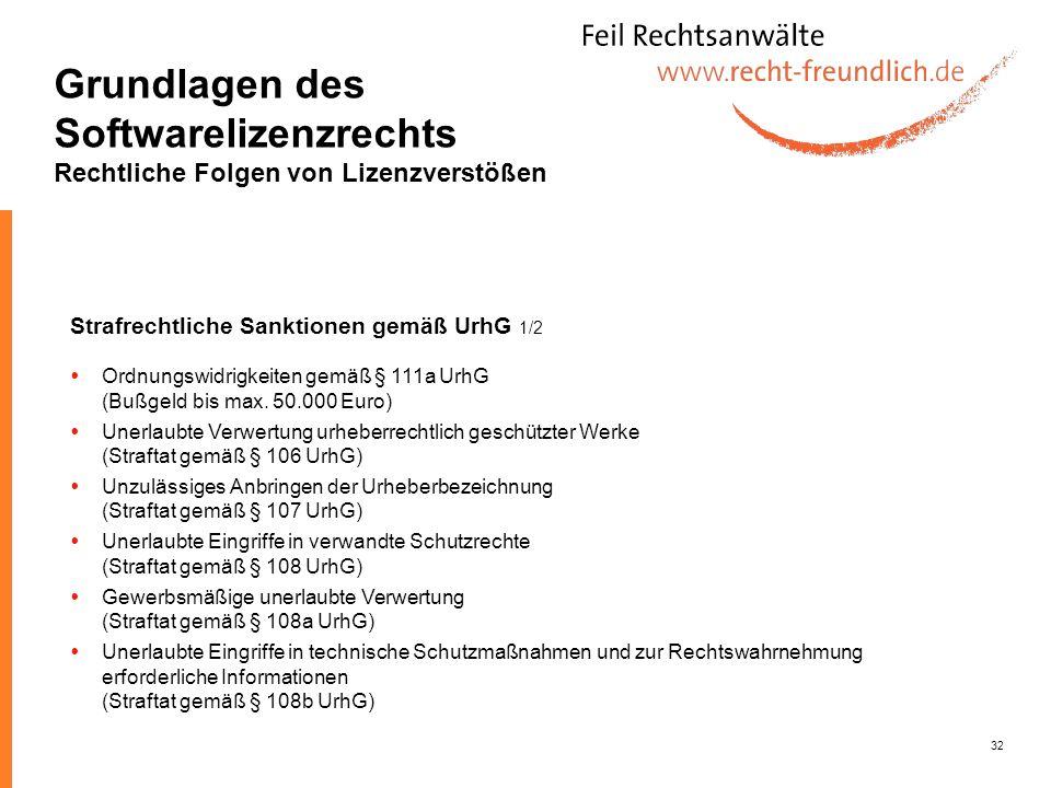 32 Grundlagen des Softwarelizenzrechts Rechtliche Folgen von Lizenzverstößen Strafrechtliche Sanktionen gemäß UrhG 1/2 Ordnungswidrigkeiten gemäß § 11