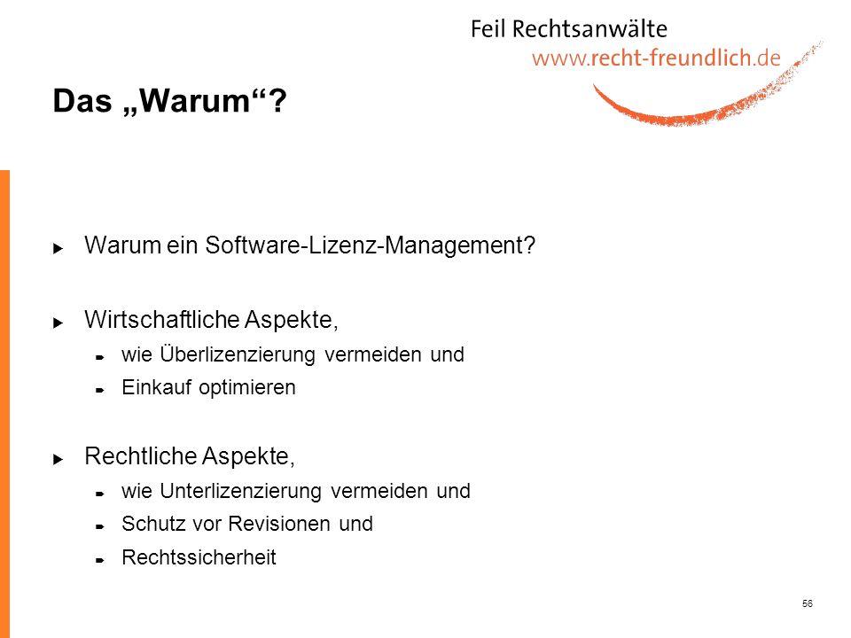 56 Das Warum? Warum ein Software-Lizenz-Management? Wirtschaftliche Aspekte, wie Überlizenzierung vermeiden und Einkauf optimieren Rechtliche Aspekte,