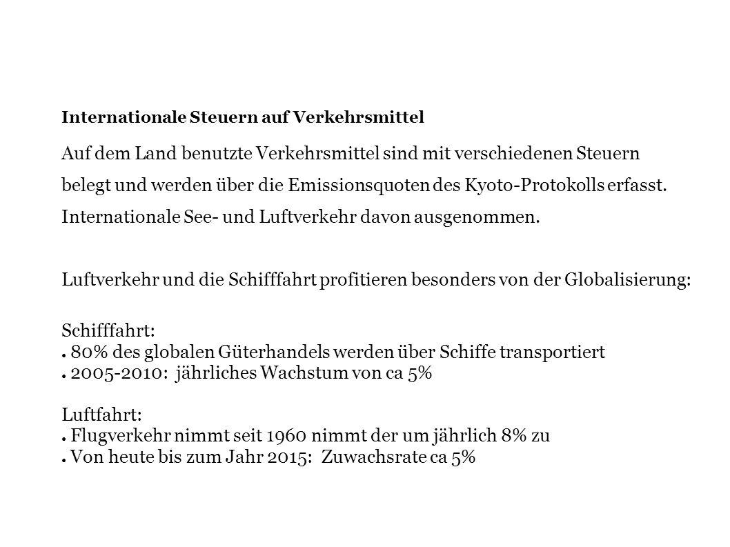 Internationale Steuern auf Verkehrsmittel Auf dem Land benutzte Verkehrsmittel sind mit verschiedenen Steuern belegt und werden über die Emissionsquot
