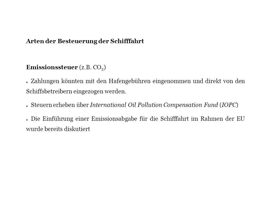 Arten der Besteuerung der Schifffahrt Emissionssteuer (z.B. CO 2 ) Zahlungen könnten mit den Hafengebühren eingenommen und direkt von den Schiffsbetre
