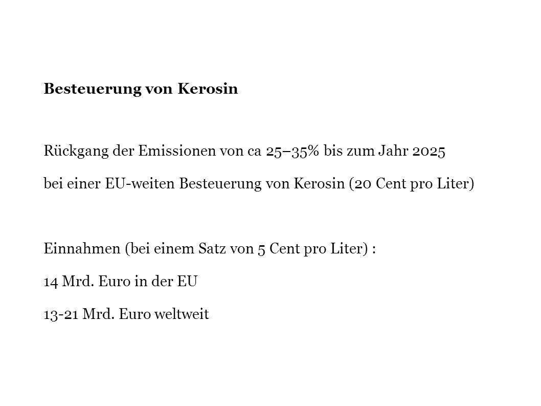 Besteuerung von Kerosin Rückgang der Emissionen von ca 25–35% bis zum Jahr 2025 bei einer EU-weiten Besteuerung von Kerosin (20 Cent pro Liter) Einnah