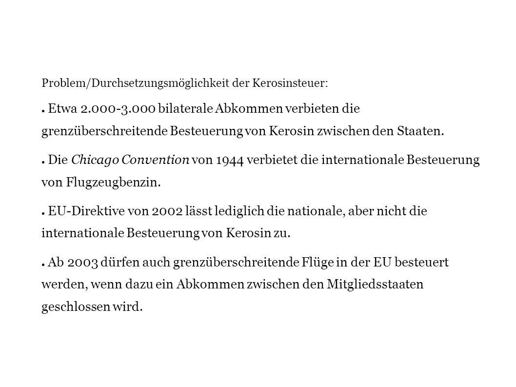 Problem/Durchsetzungsmöglichkeit der Kerosinsteuer: Etwa 2.000-3.000 bilaterale Abkommen verbieten die grenzüberschreitende Besteuerung von Kerosin zw