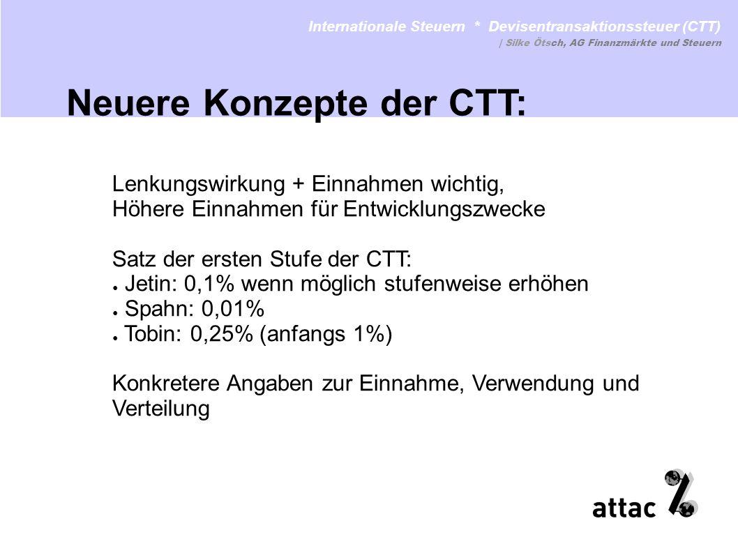 Lenkungswirkung + Einnahmen wichtig, Höhere Einnahmen für Entwicklungszwecke Satz der ersten Stufe der CTT: Jetin: 0,1% wenn möglich stufenweise erhöh