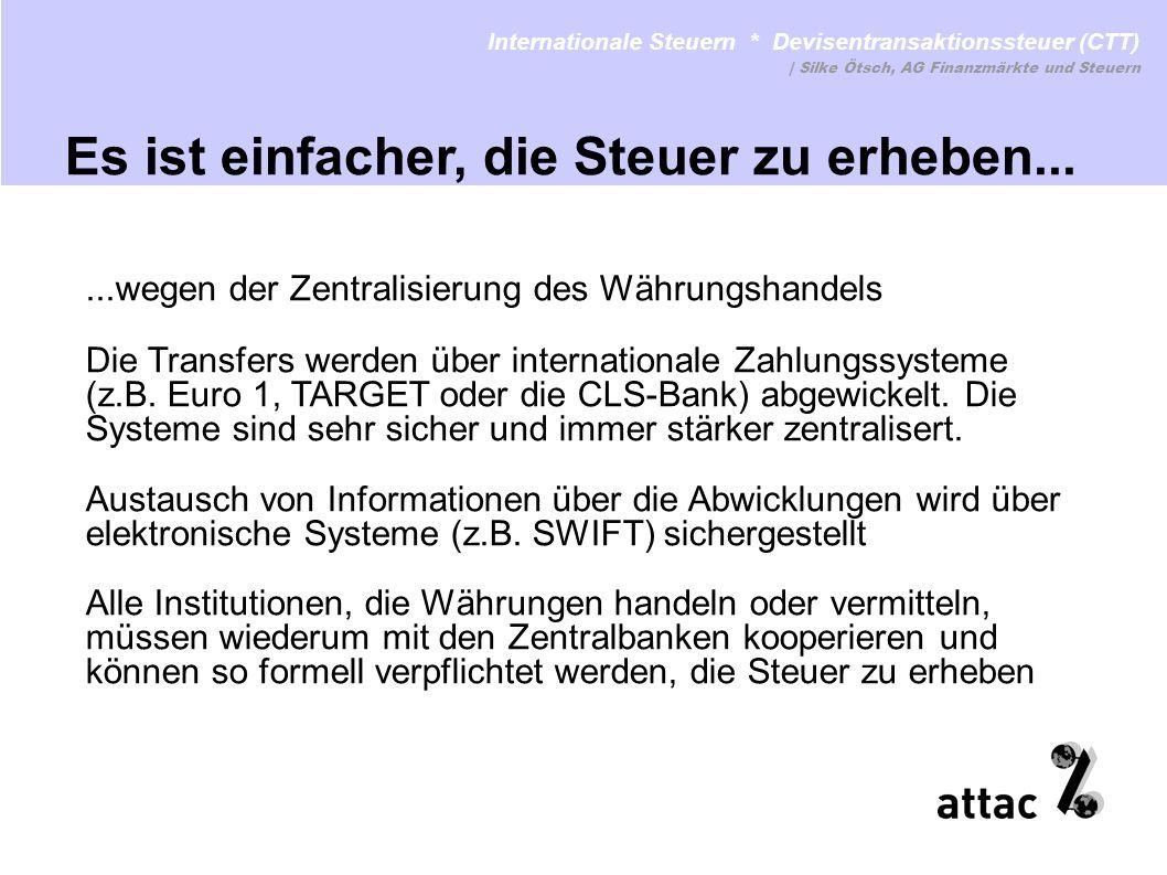 ...wegen der Zentralisierung des Währungshandels Die Transfers werden über internationale Zahlungssysteme (z.B. Euro 1, TARGET oder die CLS-Bank) abge
