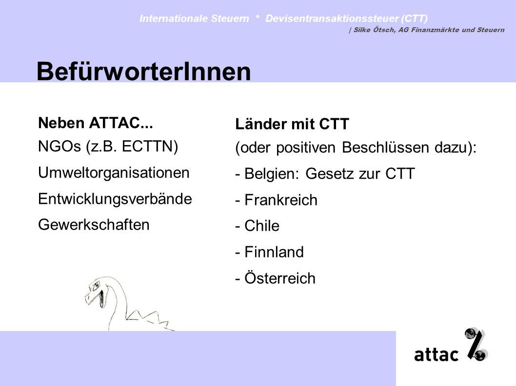 Länder mit CTT (oder positiven Beschlüssen dazu): - Belgien: Gesetz zur CTT - Frankreich - Chile - Finnland - Österreich Internationale Steuern * Devi