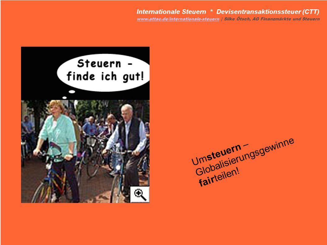 Umsteuern – Globalisierungsgewinne fairteilen! Internationale Steuern * Devisentransaktionssteuer (CTT) www.attac.de/internationale-steuernwww.attac.d